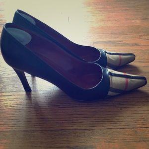 "Black leather Burberry 3"" heels"